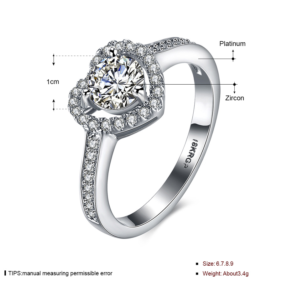 Heart Ring Silver Plated with Crystal Zirconia Women\'s Cheap Rings ...