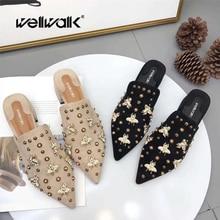 купить Ladies Mules Shoes Luxury Slippers Women Bee Shoes Pointed Toe Slides Rivets Design Mules Female Heel Slippers Brand по цене 1681.58 рублей