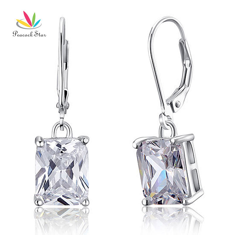 Peacock Star 4 Carat Dangle Earrings Solid 925 Sterling Silver Fashion Wedding Jewelry CFE8013