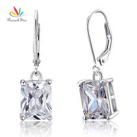 Drop Shipping Free 4 Carat Emerald Cut Simulated Diamond 925 Sterling Silver Dangle Earrings CFE8013