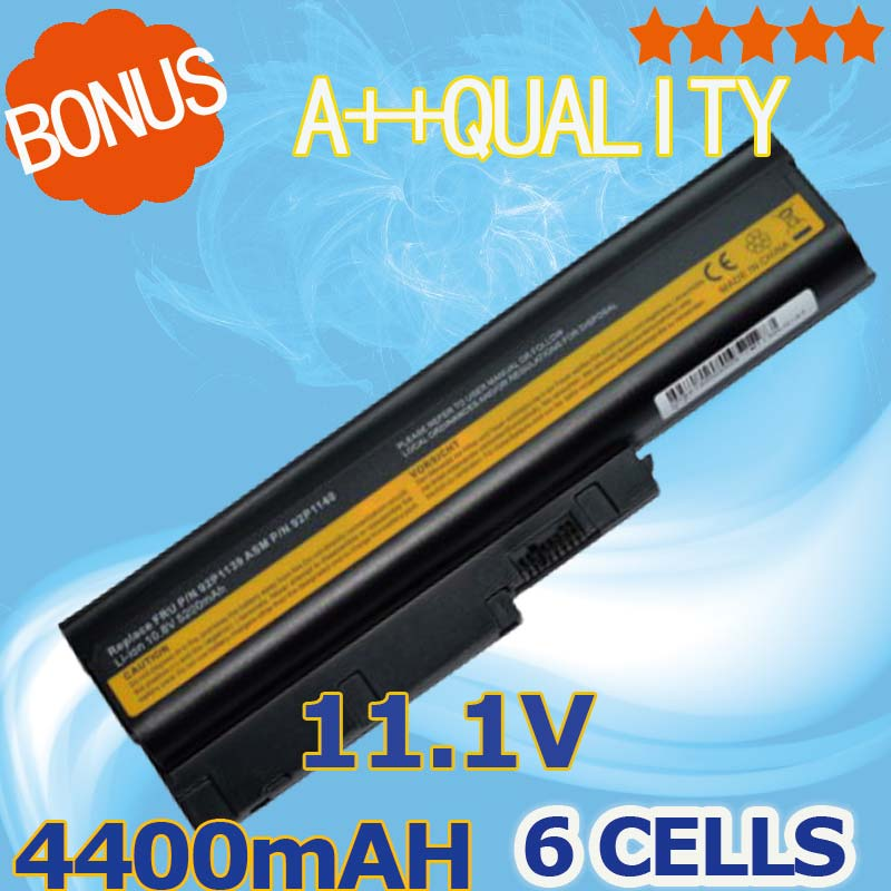 4400mAh Battery for IBM Lenovo ThinkPad R60 R60e R61 R61e R61i T60 T60p T61 T61p R500 T500 W500 SL400 SL500 SL300 SL510 new 9 cell laptop battery for lenovo thinkpad r500 r61e t500 sl300 t61p sl400 sl500 41u3198 asm 42t4545 fru 42t4504 42t4513
