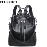 BELLO TUTTI Women Backpack Genuine Leather School Backpacks For Teenage Girls Cow Shoulder Bag Large Capacity