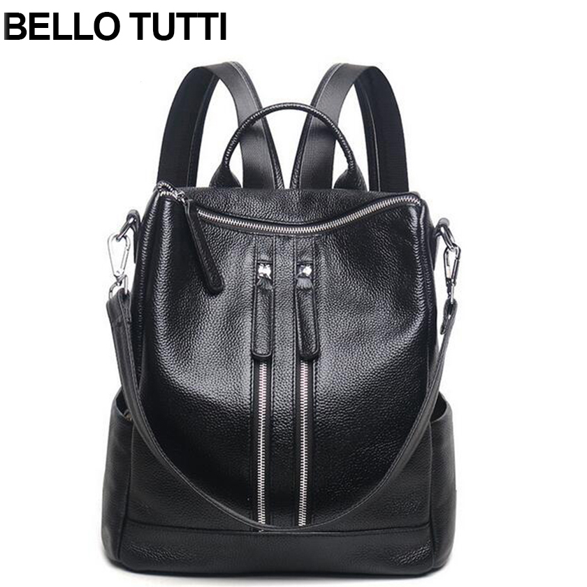 BELLO TUTTI Women Backpack Genuine Leather School Backpacks For Teenage Girls Cow Shoulder Bag Large Capacity Travel Bags nigedu brand genuine leather women backpacks large capacity female school bag laptop backpack girls shoulder travel mochila