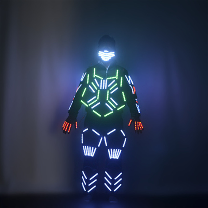 M08 Ballroom dance led costumes luminous mask glowing robot men suit dj jacket wears stage outfits armor dress clothe gloves ds