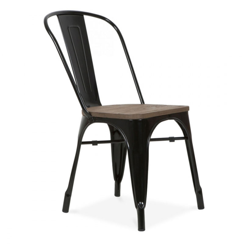 Free Shipping Metal Black Side Chair With Elm Wood Seat In Dining Chairs  From Furniture On Aliexpress.com | Alibaba Group