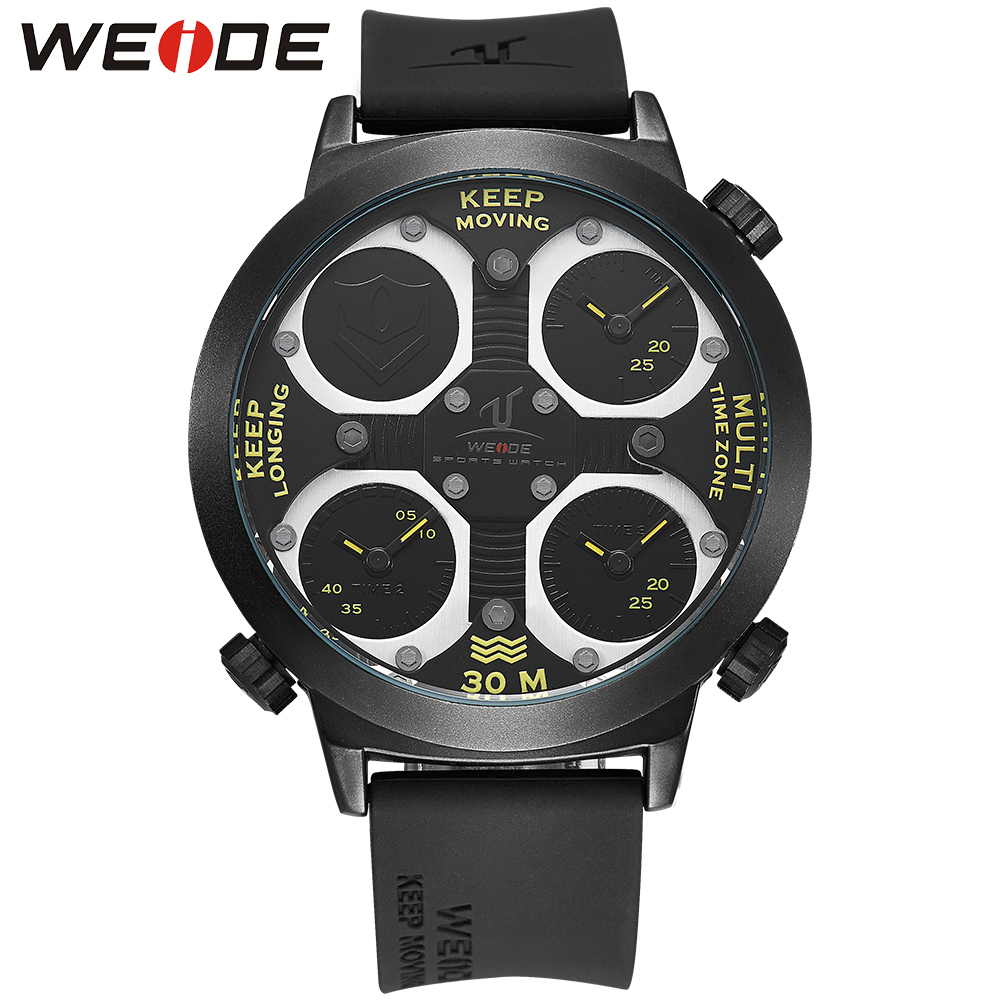 WEIDE Brand Outdoor Sport Big Dial Black Silicone Band Quartz Analog Display 30m Waterproof Dual Time Zone Men Watches / UV1503 weide casual genuin brand watch men sport back light quartz digital alarm silicone waterproof wristwatch multiple time zone