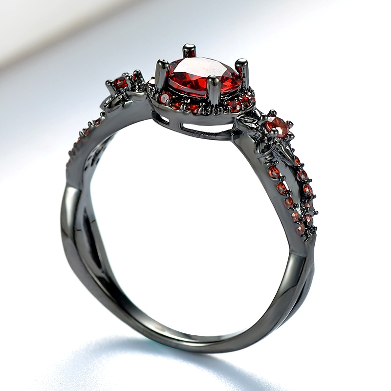 Charming Stone Ring red Zircon Fashion Women Wedding Flower Jewelry Black Gold Filled Engagement Rings Bague Femme