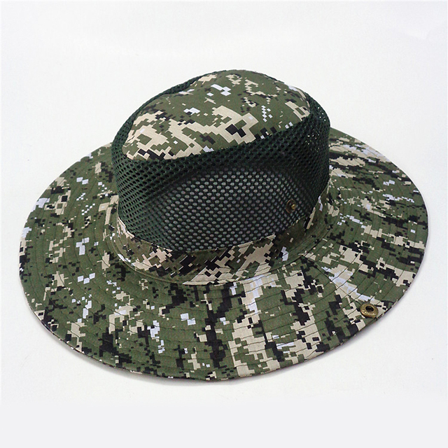 260461e921a97 2019 New Military Camouflage Bucket Hat Disguised Mesh Tactical Boonie Hat  Hiking Fishing Travelling Jungle Rainforest Hat