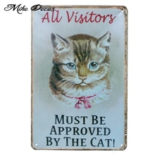 Cat Cafe Metal Sign PUB Home Bar Decor Vintage Wall Sign APPROVED BY THE CAT