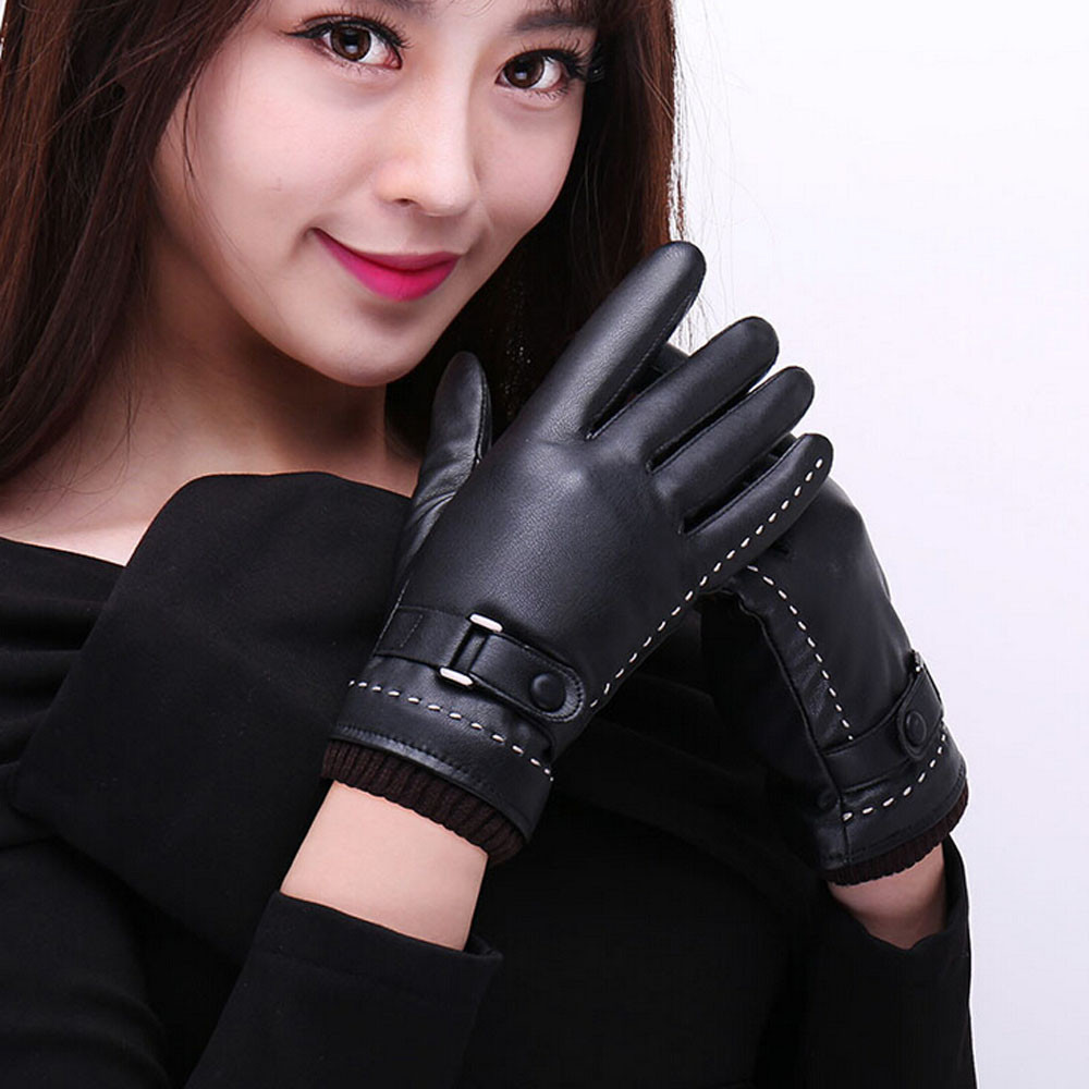 Driving gloves girl - Women Men Pu Gloves Artificial Leather Boy Girl Five Fingers Mittens Winter Screen Winter Warm Gloves