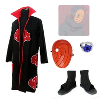 free shipping Anime Uzumaki Naruto Akatsuki Obito Uchiha Cosplay Costume Full Set coat+mask+shoes+ring