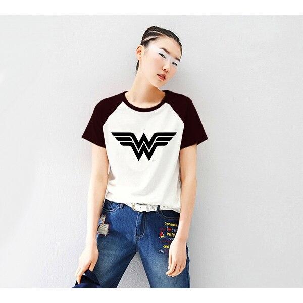 Рукав реглан рубашки женские футболка весна 2018 Летняя футболка wonder woman Футболка Летний Топ