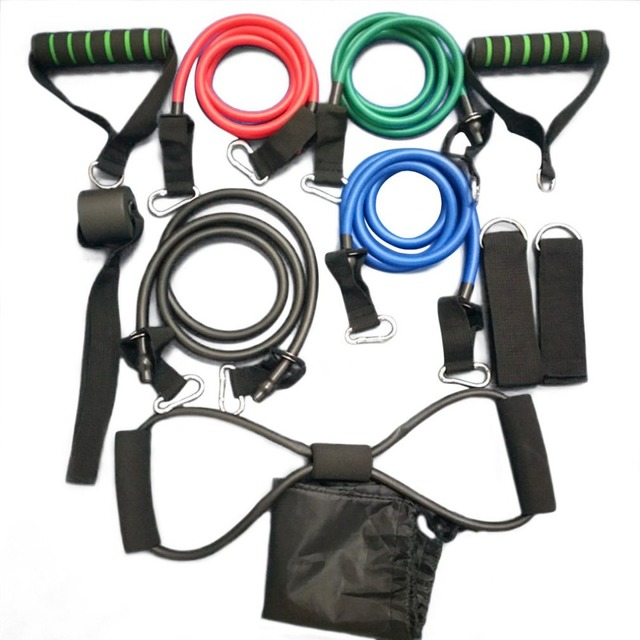 OUTAD 11 Pcs/Set Rally Pull Rope Muscle Training Resistance Bands Portable