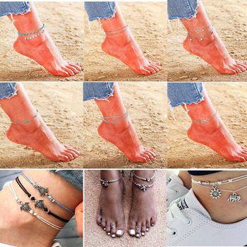 NS67 Bohemian Anklets For Women Summer Beach Jewelry Trendy Starfish Double Layer Chain 1