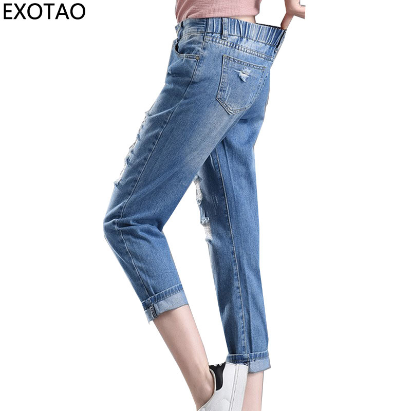 EXOTAO Design Elastic Waist Denim Pants for Women Boyfriend Ripped Jeans Female Plus Size Autumn Trousers 2017 Holes Vaqueros plus size pants the spring new jeans pants suspenders ladies denim trousers elastic braces bib overalls for women dungarees
