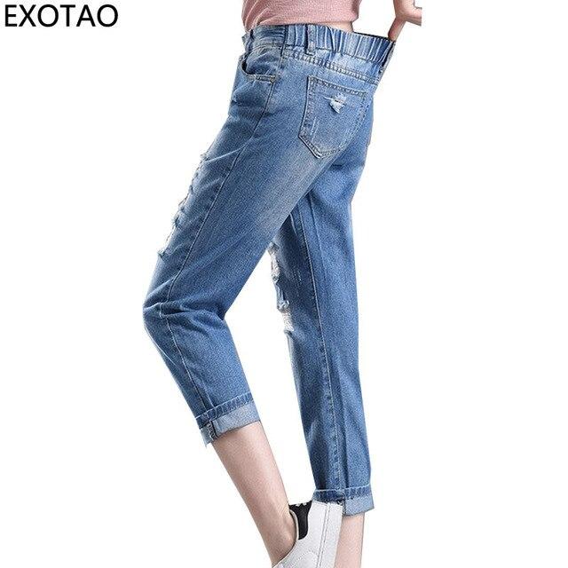 a5c00615f9 Elástico en la cintura Denim Pantalones Vaqueros para mujeres