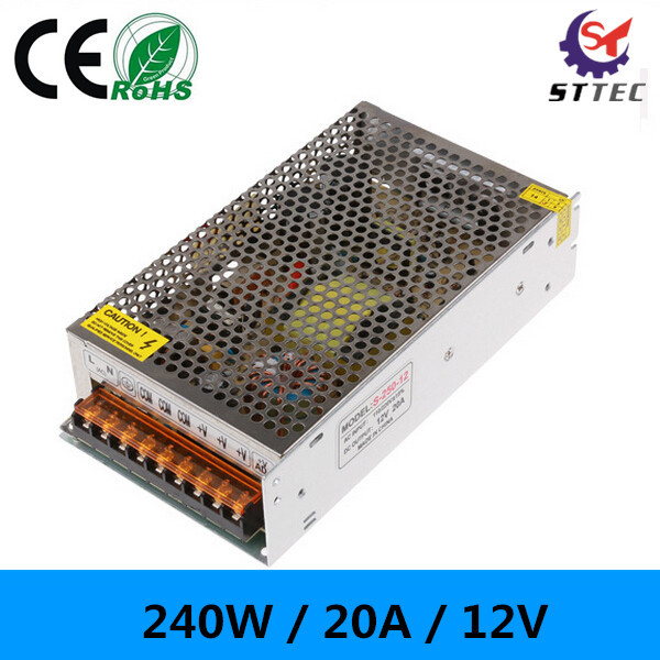 High quality AC110V - <font><b>220V</b></font> to 12V DC <font><b>20A</b></font> power supply switch 12V 240W power supply for LED image