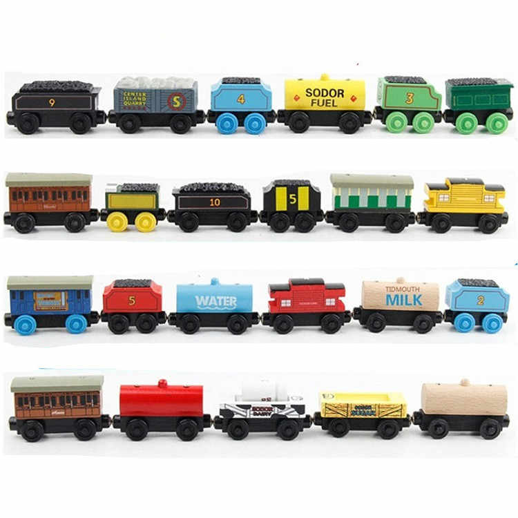 EDWONE -Tender Circus Animal Milk Tender Wood Railway Train Slot Magnetic Trains Toy Mini DIY Car For Kids Xmas Gifts