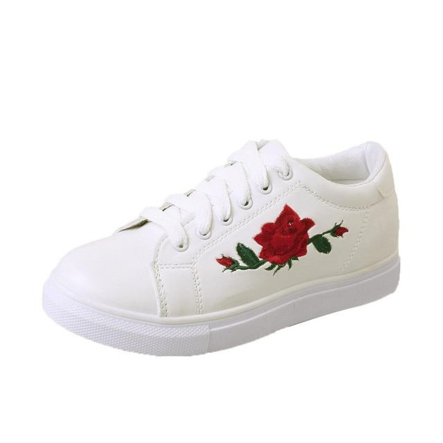Women Lace-up Shoes Fashion Women's Straps Sneakers Embroidery Flower Shoes  Women's Vulcanize Shoe Female