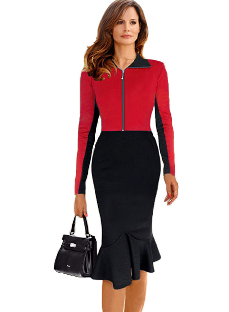 womens elegant vintage colorblock front zipper wear to work business casual office party mermaid sheath pencil bodycon dress cg casual office cabinets