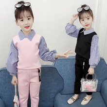 Girls clothing set 2018 autumn suit children's clothing striped fashion shirt + pants casual two-piece suit