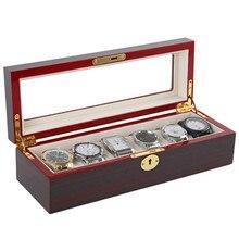 Роскошные деревянные контейнеры для хранения дисплей 6 коробки для часов коробка-витрина для часов ювелирный кейс Органайзер держатель Рекламные коробки