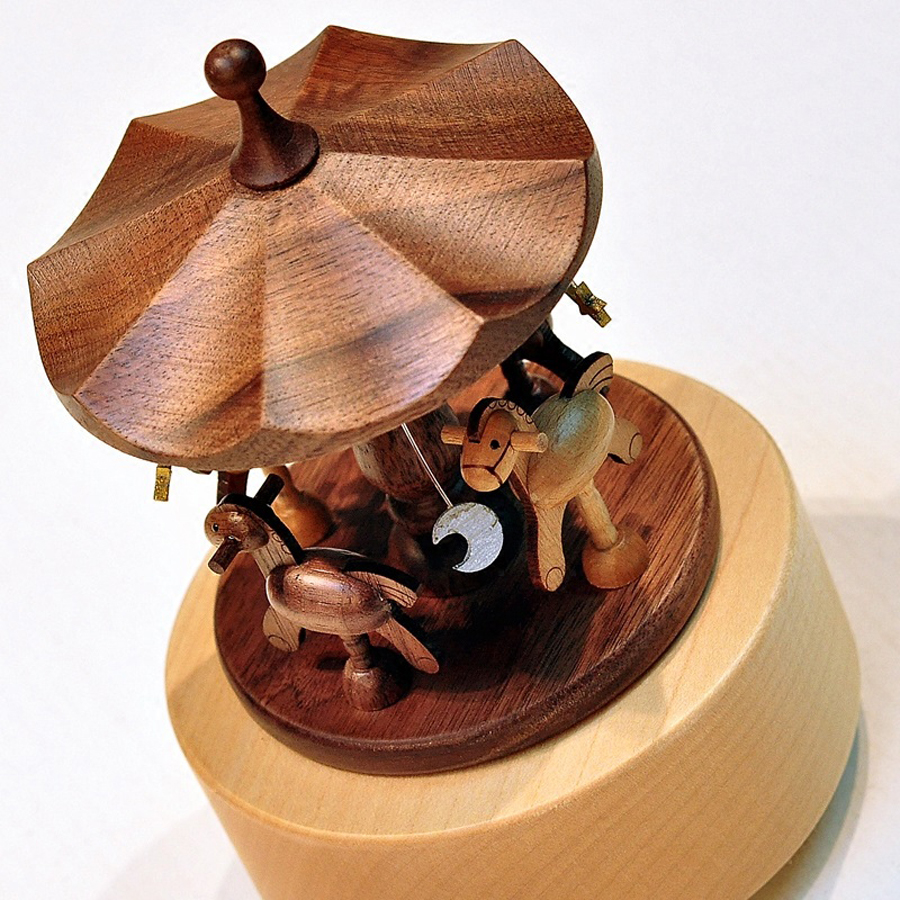 Creative Wooden Carousel Mini Music Box Solid Wood Merry-go-round - Տնային դեկոր - Լուսանկար 4