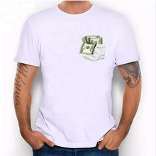 New Summer I Love Dollar T Shirts Funny Men's Short Sleeve Pocket Money T-Shirt Men Casual Tops Cool Hipster Boy Tees(China)
