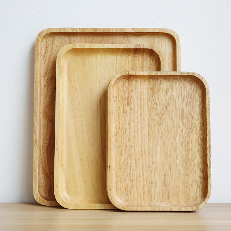 Wooden Serving Tray Solid Wood Plate Tea Tray Cake Dishes Rectangular Large Coffee Bread Fruit Food Serving Tray Party Tableware (3)