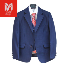 Blue Blazers for Boys Suits for Weddings Kids three items Tuxedo go well with Formal costume Children clothes set