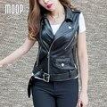 Черный кожаный жилет стад 100% овчины кожаная куртка женщин жилет от центра на молнии карман в юбке chalecos mujer colete LT152