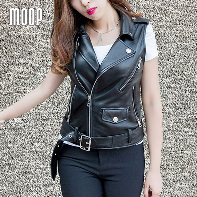 1136825f7eb1 Black genuine leather vest stud 100%lambskin leather jacket women waistcoat  off-center zip