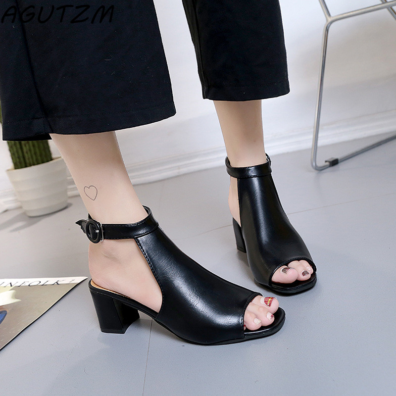 AGUTZM Women Sandals High Heels 2018 Summer Shoes Woman Party Wedding Square Block Heel Sandals Ladies Shoes Zapatos Mujer