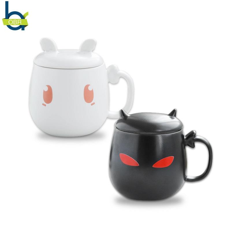 OBR 200ml Cute Ceramic Milk Mug with Lid Coffee Tea Cup Creative Office Water Cup Angel/Devil Pattern Couple Mugs Children Gift