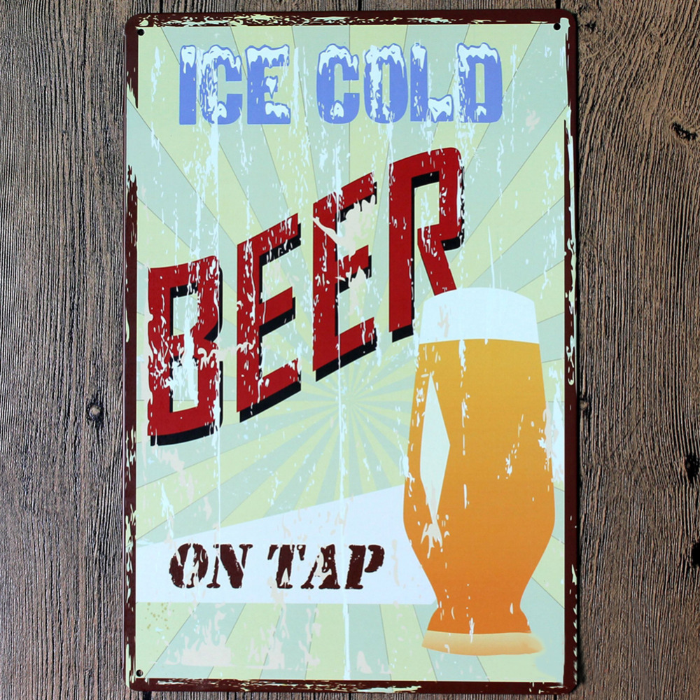 Wall sticker Ice cold beer Wall Art Wall Poster 20*30CM Metal Tin Sign Coffee Pub Club Gallery Poster tips Vintage Plaque Decor
