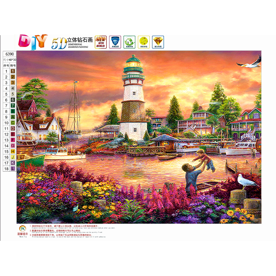 Arts,crafts & Sewing Home & Garden Diy 5d Diamond Painting Landscape Lighthouse Furniture Decoration Resin Round Drill Diamond Embroidery Gift Cheap Sales