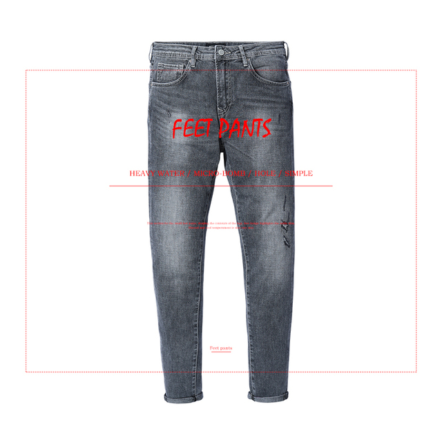 SIMWOOD New 2018 Autumn Jeans Men Hole Slim Fit Gray Denim Trousers Fashion Skinny Jean Hip Hop Brand Clothing For Men 180181
