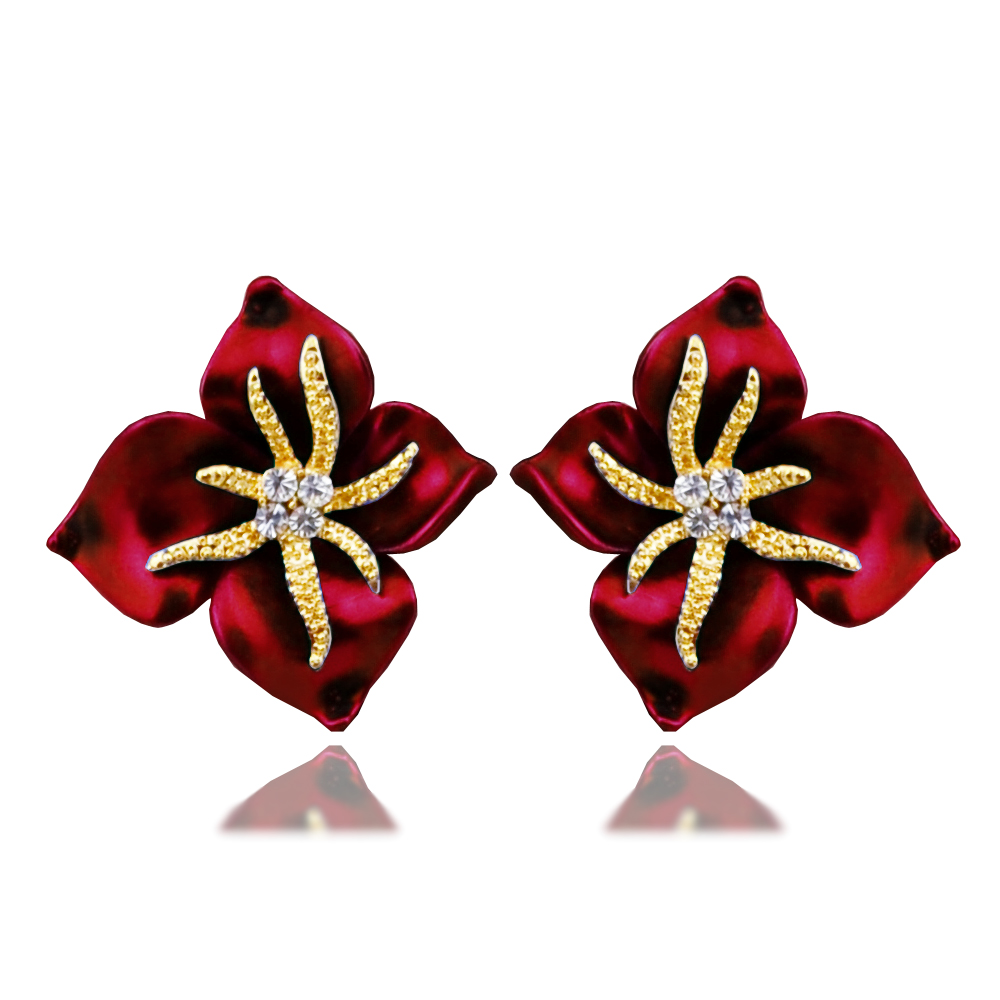 E069 Starfish Four Leaves Ladies Stud Earrings Gold Color Earrings Women  Jewelry New 2017 Latest Gold