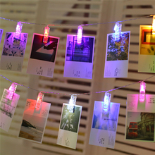 100sets Garland Card Photo Clip String Lights 1.5M 10LEDS Led Fairy Light Bedroom DIY Clothespin Shapes Battery Christmas Lamp