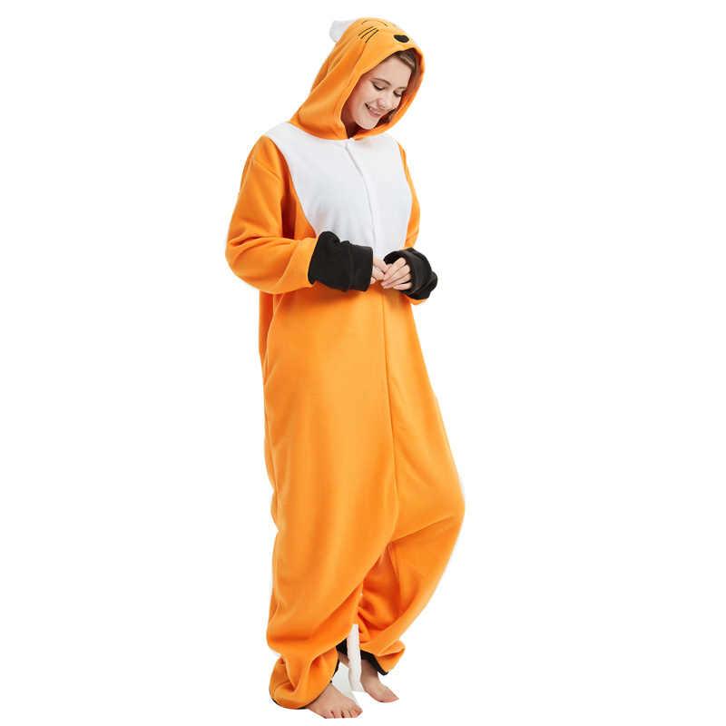 3c5df9682d65 ... New Fox Kigurumi Pajamas Onesie For Adults Animal Cartoon Orange  One-piece Sleepwear Women Halloween ...