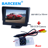 Color hd lcd TFT car reserve parking monitor bring 4.3 lcd display with 8 led car rearview camera for BMW 3 /5 Series
