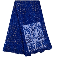 Stones Appliqued Lace Fabric Royal Blue High Quality Latest African Lace 2018 Handmade 3D Lace Fabric