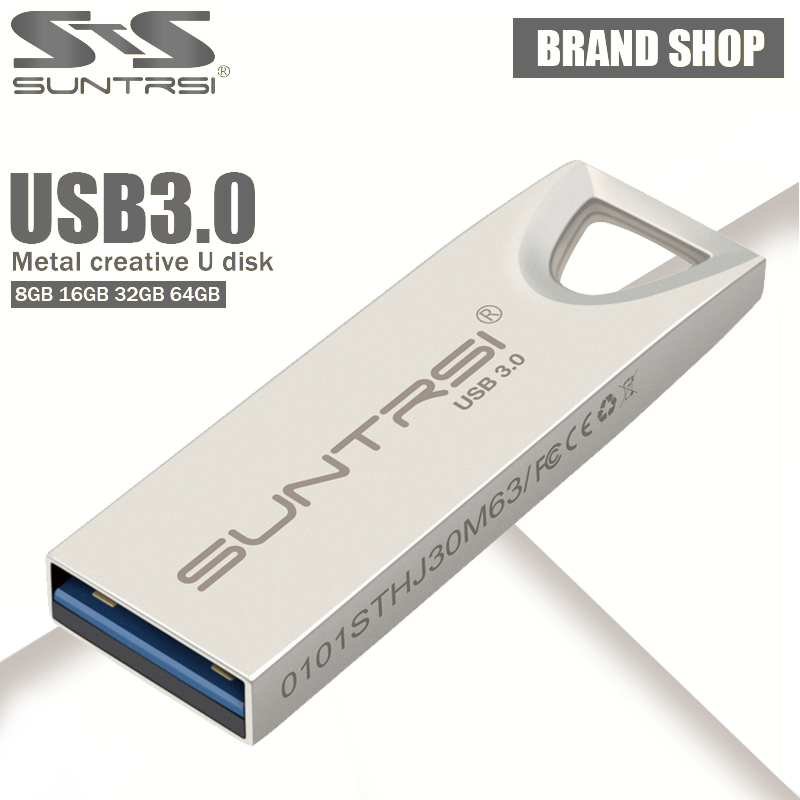 Suntrsi USB 3.0 Pendrive 8GB 16GB 32GB Metal High Speed USB Flash Drive 64GB USB Stick Waterproof Free Shipping Real Capacity