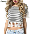 ROMWE 2016 New Fashion T-shirt Women Lace Trimmed Woman Summer Tee Shirt Round Neck Short Sleeve Casual Crop T-Shirt