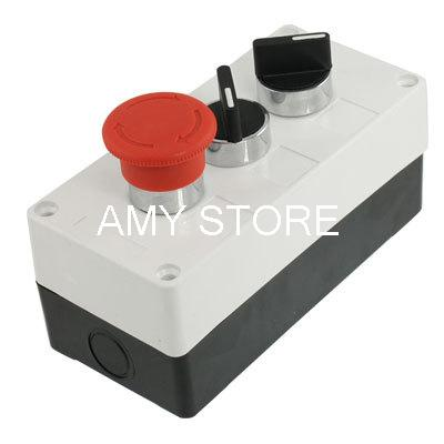 XB2BD21C/XB2BD33C Rotary Selector Emergency Stop XB2BS542C Push Button Switch Station Box AC 240V 400V ac 600v 10a normal close plastic shell red sign emergency stop mushroom knob switch 22mm elevator emergency stop switch