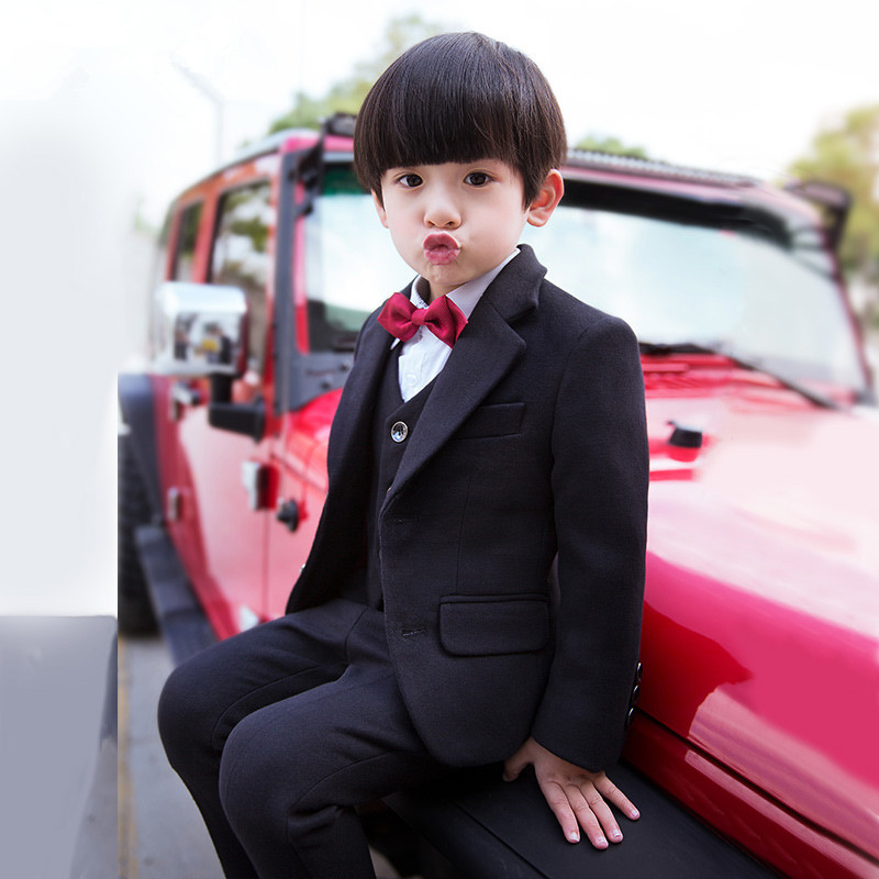 Winter Children Boys Formal Sets 5 pcs Woolen Blend Coat Pants Vest Shirt Tie Costume Wedding Birthday Party Gentleman Boy Suit winter children boys formal sets 5 pcs woolen blend coat pants vest shirt tie costume wedding birthday party gentleman boy suit