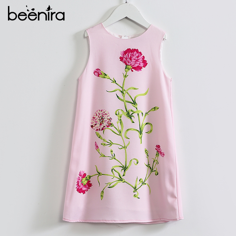 Beenira Girls Summer Dress 2017 New Brand European And American Style Kids Flowers Pattern Printed Soft Princess Dress For 4-14Y beenira children clothes dresses 2017 new summer fashion style girls flower pattern bow princess dress for 4 14y baby girl dress