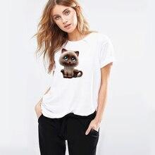цена на Stefan janoski S-4XL Plus Size 2019 Women 3D cat Print White Casual Lady T-Shirt Short sleeve Casual Round neck Cheap Top Femme