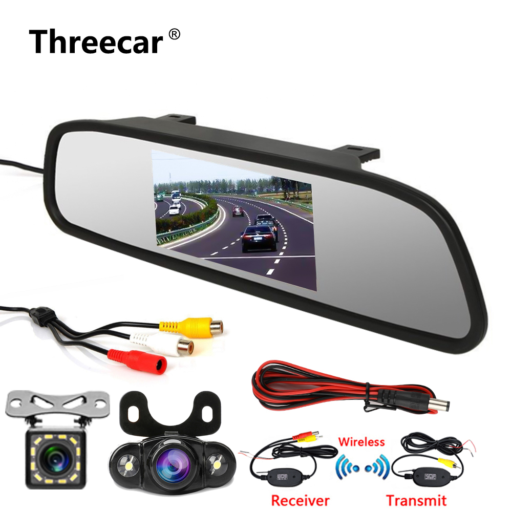 "4.3"" Car Rearview Mirror Monitor Rear View Camera TFT-CCD Video Auto Parking Kit 4 LED Night Vision Reversing Car-styling(China)"