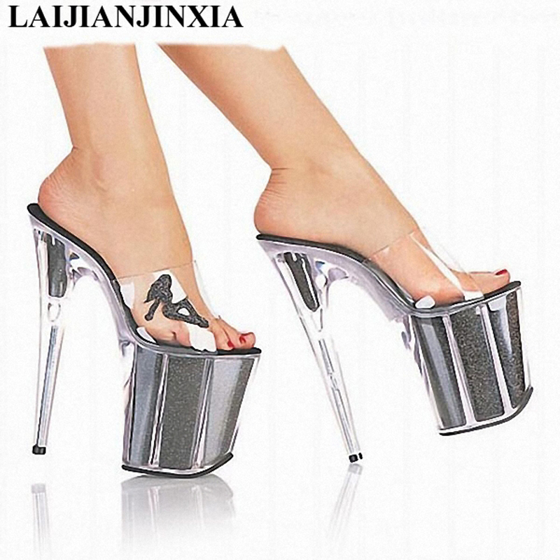 LAIJIANJINXIA New Crystal Slipper 20cm Ultra High Heels Transparent Waterproof Cool Slippers fine with Big yards Women's Shoes 2017 han edition of the new fashion women s shoes big yards high heels crystal cool slippers 15cm